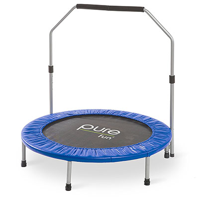 "Best Mini Trampolines for Exercise Pure Fun 40"" Mini Rebounder Trampoline with Adjustable Handrail"