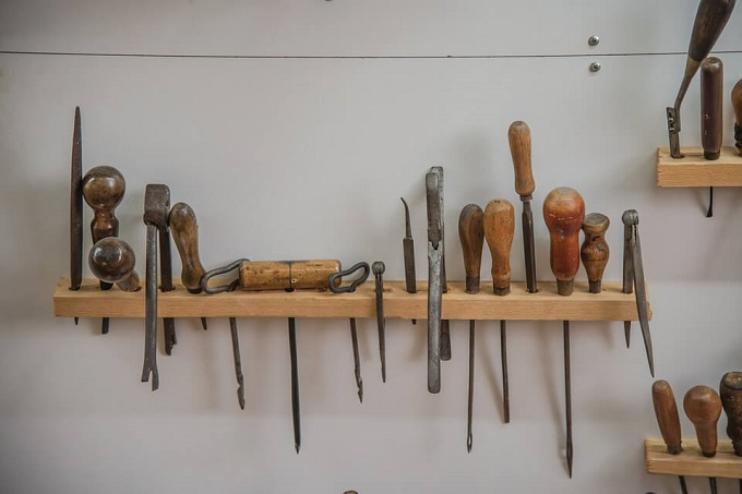 shelves with crafting tools