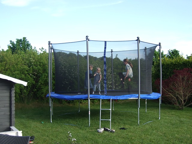 playing at trampoline with cover in lawn